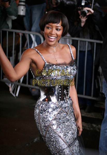 NAOMI CAMPBELL.Leaving the Sanitation Department of New York on her fifth and final  day of Community Service,  New York, NY, USA, 23 March 2007..half length evening dress gown silver waist belt beaded black grey.CAP/IW.©Ian Wilson/Capital Pictures