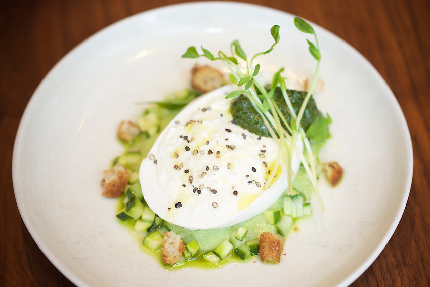 New York, NY - May 17, 2016: Burrata at Laurent Tourondel's L'Amico by chef Larry Baldwin in the Eventi Hotel in Midtown South.<br /> <br /> CREDIT: Clay Williams for Haute Life.<br /> <br /> &copy; Clay Williams / claywilliamsphoto.com