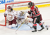Andie Anastos (BC - 23), Katie Burt (BC - 33), Hayley Masters (NU - 23) - The Boston College Eagles defeated the Northeastern University Huskies 5-1 (EN) in their NCAA Quarterfinal on Saturday, March 12, 2016, at Kelley Rink in Conte Forum in Boston, Massachusetts.