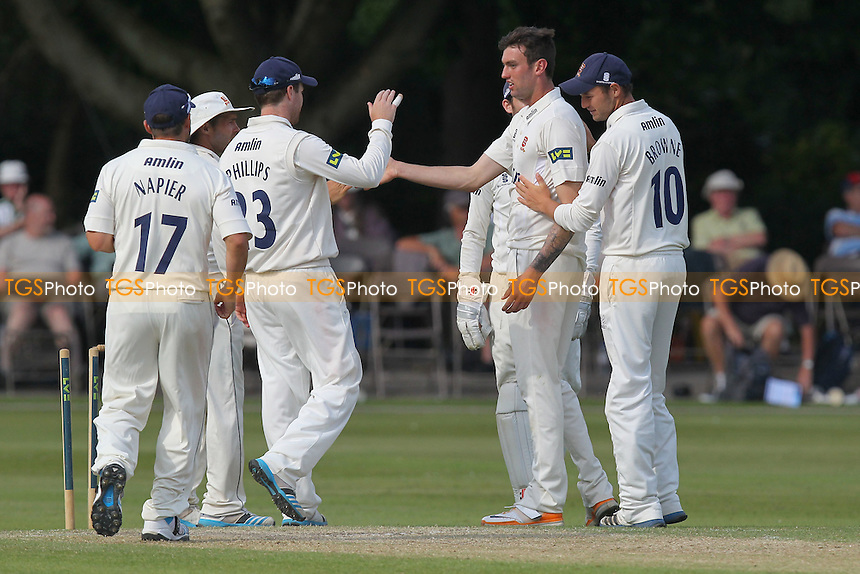 Reece Topley (2nd R) is congratulated on the wicket of Gareth Cross - Derbyshire CCC vs Essex CCC - LV County Championship Division Two Cricket at Queen's Park, Chesterfield - 09/07/14 - MANDATORY CREDIT: Gavin Ellis/TGSPHOTO - Self billing applies where appropriate - 0845 094 6026 - contact@tgsphoto.co.uk - NO UNPAID USE