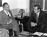 Minister of Defense Shimon Peres of Israel, left, visits United States Secretary of Defense Donald H. Rumsfeld in his Pentagon office in Washington, DC on December 16, 1975.<br /> Mandatory Credit: Robert D. Ward / DoD via CNP /MediaPunch