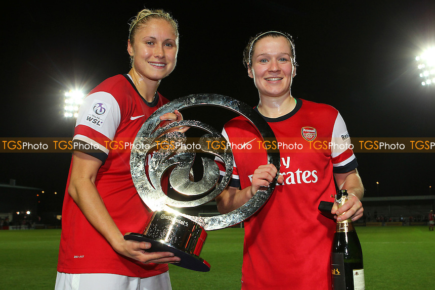 Steph Houghton (L) and Emma Mitchell of Arsenal Ladies with the Cup - Arsenal Ladies vs Lincoln Ladies - FA Womens Super League Continental Cup Final Football at The Hive Stadium, Barnet FC - 04/10/13 - MANDATORY CREDIT: Gavin Ellis/TGSPHOTO - Self billing applies where appropriate - 0845 094 6026 - contact@tgsphoto.co.uk - NO UNPAID USE