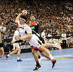 10.01.2019, Mercedes Benz Arena, Berlin, GER, Handball WM 2019, Deutschland vs. Korea, im Bild <br /> Martin Strobel (GER #19), SEO Seunghyun (Korea #23)<br /> <br />      <br /> Foto © nordphoto / Engler