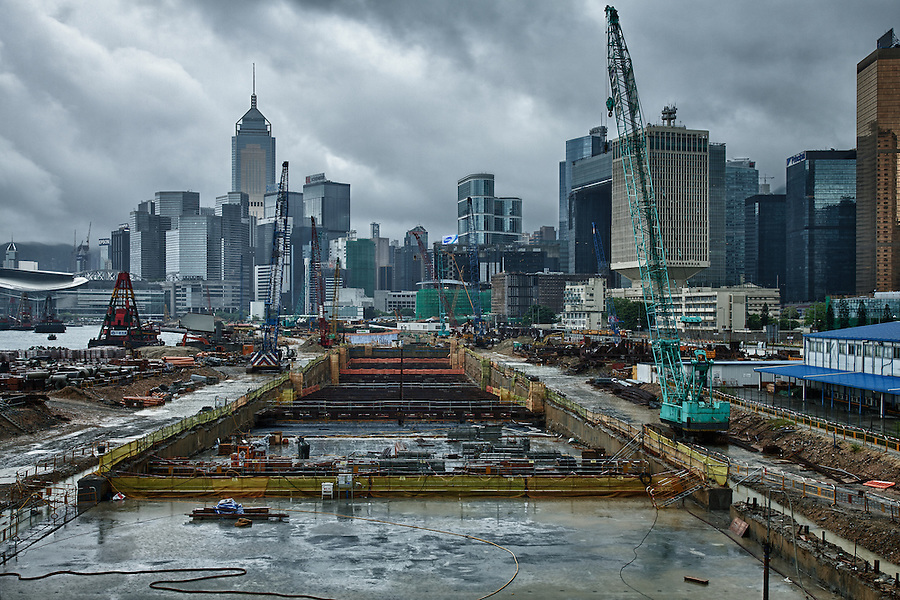 Central Bypass Construction Site From The Star Ferry Walkway, Hong Kong.