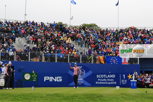 Anne Van Dam of Team Europe enticing the crowd to cheer on the 1st tee during Day 2 Fourball at the Solheim Cup 2019, Gleneagles Golf CLub, Auchterarder, Perthshire, Scotland. 14/09/2019.<br /> Picture Thos Caffrey / Golffile.ie<br /> <br /> All photo usage must carry mandatory copyright credit (© Golffile | Thos Caffrey)