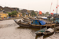 Busy waterfront at Hoi An in coastal Vietnam
