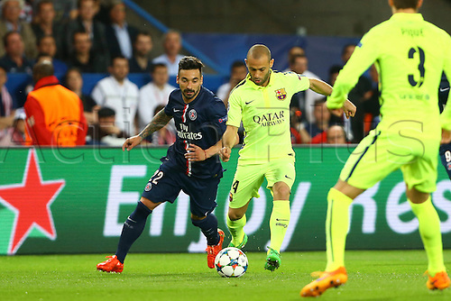 15.04.2015. Paris, France. UEFA Champions League football. QUarterfinal, first leg between PSG and Barcelona.  Mascherano makes a clearance
