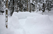 Snow igloo in the White Mountains, New Hampshire during the winter months.