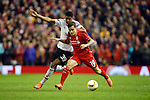 Marcus Rashford of Manchester United battles Philippe Coutinho of Liverpool during the UEFA Europa League match at Anfield. Photo credit should read: Philip Oldham/Sportimage