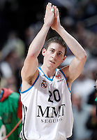 Real Madrid's Jaycee Carroll celebrates the victory after Euroleague 2012/2013 match.January 31,2013. (ALTERPHOTOS/Acero)
