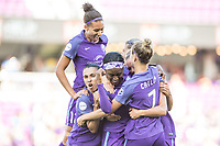 Orlando, FL - Sunday May 14, 2017: Team Celebrates goal during a regular season National Women's Soccer League (NWSL) match between the Orlando Pride and the North Carolina Courage at Orlando City Stadium.