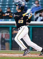 Salt Lake Bees shortstop Gil Velazquez #23 during a game vs. Tacoma Rainiers on April 26, 2011 at Spring Mobile Ballpark in Salt Lake City, Utah. Salt Lake Bees were defeated by Tacoma 8-4.  Photo By Matthew Sauk/Four Seam Images