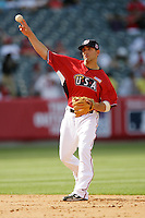 Danny Espinosa of the Washington Nationals organization participates in the Futures Game at Angel Stadium in Anaheim,California on July 11, 2010. Photo by Larry Goren/Four Seam Images