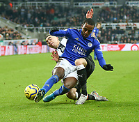 1st January 2020; St James Park, Newcastle, Tyne and Wear, England; English Premier League Football, Newcastle United versus Leicester City; Miguel Almiron of Newcastle United tackles Ricardo Pereira of Leicester City - Strictly Editorial Use Only. No use with unauthorized audio, video, data, fixture lists, club/league logos or 'live' services. Online in-match use limited to 120 images, no video emulation. No use in betting, games or single club/league/player publications