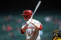 Brady Harlan (21) of the Oklahoma Sooners at bat against the Missouri Tigers in game four of the 2020 Shriners Hospitals for Children College Classic at Minute Maid Park on February 29, 2020 in Houston, Texas. The Tigers defeated the Sooners 8-7. (Brian Westerholt/Four Seam Images)
