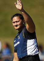 2008 Olympic gold medalist Valerie Vili waves to the crowd after winning the women's shot put during day two of the National athletics championships at Newtown Park, Wellington, New Zealand on Saturday, 28 March 2009. Photo: Dave Lintott / lintottphoto.co.nz