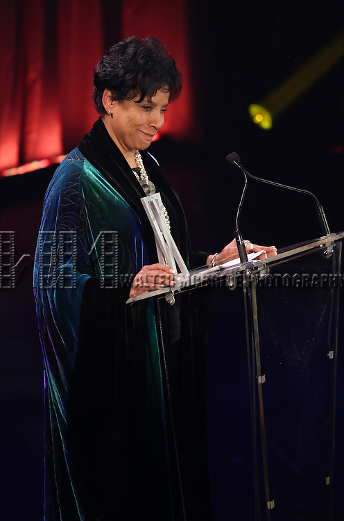 Phylicia Rashad onstage during the Roundabout Theatre Company's  50th Anniversary Gala at The Waldorf-Astoria on February 29, 2016 in New York City.
