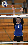Marymount University's Emily Shultis goes up for a block in college volleyball action at Goucher College in Towson, MD, on Saturday, Oct. 8, 2011..Photo by Cathleen Aliison