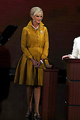St. Paul, MN - September 1, 2008 -- Mrs. Cindy McCain, wife of United States Senator John McCain, issues a joint appeal with first lady Laura Bush (not pictured) for help to aid affected parts of the Gulf Coast in the aftermath of Hurricane Gustav on day 1 of the 2008 Republican National Convention in Saint Paul, Minnesota on Monday, September 1, 2008..Credit: Ron Sachs / CNP.(RESTRICTION: NO New York or New Jersey Newspapers or newspapers within a 75 mile radius of New York City)
