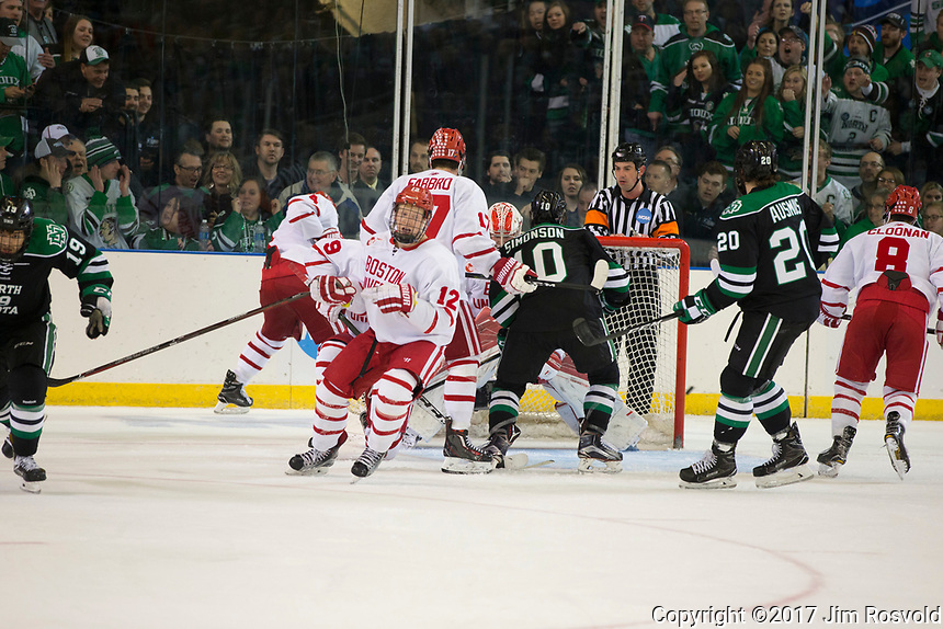 24 Mar 17:  The University of North Dakota Fighting Hawks play against the Boston University Terriers in a 2017 NCAA West Regional semi-final matchup at Scheels Arena in Fargo, ND.
