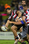 Cardiff Vaega looks to offload as he is tackled by Charlie Faumuina. The game of Three Halves, a pre-season warm-up game between the Counties Manukau Steelers, Northland and the All Blacks, played at ECOLight Stadium, Pukekohe, on Friday August 12th 2016. Photo by Richard Spranger.
