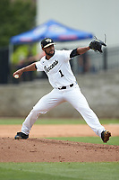 Wake Forest Demon Deacons relief pitcher Donnie Sellers (1) in action against the Florida Gators in the completion of Game Two of the Gainesville Super Regional of the 2017 College World Series at Alfred McKethan Stadium at Perry Field on June 12, 2017 in Gainesville, Florida. The Demon Deacons walked off the Gators 8-6 in 11 innings. (Brian Westerholt/Four Seam Images)