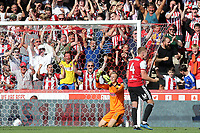 Lewis Macleod scores Brentford's fifth goal and celebrates during Brentford vs Rotherham United, Sky Bet EFL Championship Football at Griffin Park on 4th August 2018