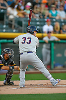 Dan Vogelbach (33) of the Tacoma Rainiers at bat against the Salt Lake Bees in Pacific Coast League action at Smith's Ballpark on July 23, 2016 in Salt Lake City, Utah. The Rainiers defeated the Bees 4-1. (Stephen Smith/Four Seam Images)