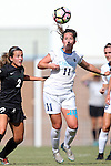 21 August 2016: North Carolina's Darcy McFarlane (11) and Charlotte's Jamie Fankhauser (2). The University of North Carolina Tar Heels hosted the University of North Carolina Charlotte 49ers in a 2016 NCAA Division I Women's Soccer match. UNC won the game 3-0