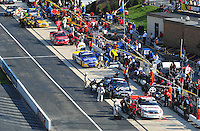 May 30, 2008; Dover, DE, USA; Nascar Craftsman Truck Series driver Mike Skinner (5) pits along with the field during the AAA Insurance 200 at Dover International Speedway. Mandatory Credit: Mark J. Rebilas-US PRESSWIRE.
