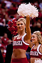 11 January 2012: Nebraska Cornhuskers cheerleader fires up the fans during a time out against the Penn State Nittany Lions at the Devaney Sports Center in Lincoln, Nebraska. Nebraska defeated Penn State 70 to 58.