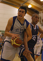 Sven Eru Tipene Friday is fouled by Poutuuterangi Edwards during the NZ Secondary Schools Basketball Championships match between Fraser High School and St Patricks College at Arena Manawatu, Palmerston North, New Zealand on Saturday 4 October 2008. Photo: Dave Lintott / lintottphoto.co.nz