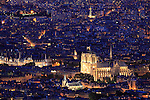 Twilight aerial view of Notre Dame cathedra city of Paris. Paris. France