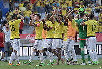BARRANQUILLA - COLOMBIA -29-03-2016: Jugadores de Colombia, celebran la victoria sobre Ecuador, durante partido entre los seleccionados de Colombia y Ecuador, por la fecha 6 para la clasificación sudamericana a la Copa Mundial de la FIFA Rusia 2018, jugado en el estadio Metropolitano Roberto Melendez en Barranquilla. /  Players of Colombia, celebrate the victory to Ecuador, during match between the teams of Colombia and Ecuador, for the date 6 for the Qualifier FIFA World Cup Russia 2018, played at Metropolitan stadium Roberto Melendez in Barranquilla. Photo: VizzorImage / Luis Ramirez / Staff.