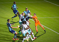 Adebayo Akinfenwa of Wycombe Wanderers scores the first goal  during the The Checkatrade Trophy match between Wycombe Wanderers and West Ham United U21 at Adams Park, High Wycombe, England on 4 October 2016. Photo by Andy Rowland.