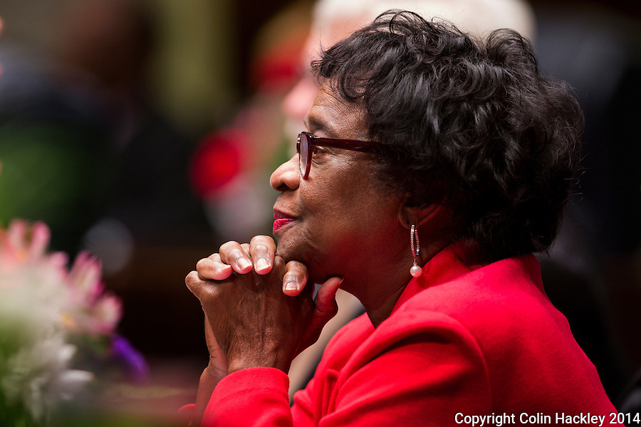 TALLAHASSEE, FLA. 11/18/14-ORGSESS111814CH-Senate Democratic Leader Arthenia Joyner, D-Tampa, listens during the Organizational Session, Nov. 18, 2014 at the Capitol in Tallahassee.<br /> <br /> COLIN HACKLEY PHOTO