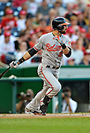 19 May 2012: Baltimore Orioles outfielder Nick Markakis in action against the Washington Nationals at Nationals Park in Washington, DC. The Orioles defeated the Nationals 6-5 in the second game of their 3-game series. Mandatory Credit: Ed Wolfstein Photo