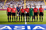Yoshida Maya of Japan (3rd L) and Amanov Arslan of Turkmenistan (3rd R) line up and pose for photos with FIFA Referee Alireza Faghani of Iran (4th R) and assistant referees prior to the AFC Asian Cup UAE 2019 Group F match between Japan (JPN) and Turkmenistan (TKM) at Al Nahyan Stadium on 09 January 2019 in Abu Dhabi, United Arab Emirates. Photo by Marcio Rodrigo Machado / Power Sport Images