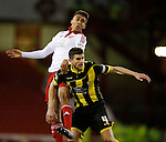 Dominic Calvert-Lewin of Sheffield Utd  gets above John Mousinho of Burton Albion - English League One - Sheffield Utd vs Burton Albion - Bramall Lane Stadium - Sheffield - England - 1st March 2016 - Pic Simon Bellis/Sportimage