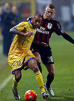 Danilo Soddimo and Ignazio Abate  during   Italian Serie A soccer match between Frosinone and AC Milan  at Matusa  Stadium in Frosinone ,December 20  , 2015