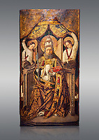 Gothic Catalan altarpiece of Saint Peter enthroned, by Roderic d'Orsona of Valencia, circa 1475, tempera and gold leaf on wood.  National Museum of Catalan Art, Barcelona, Spain, inv no: MNAC 15816.
