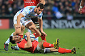 Ulster's Louis Ludik crashes in pain after clashing with Racing 92's Olivier Klemenczak during the second half at the Kingspan Stadium, Belfast, Northern Ireland, 12 Jan 2019. Photo/Paul McErlane