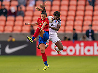 HOUSTON, TX - JANUARY 28: Melissa Herrera #7 of Costa Rica goes up for a header with Maria Murillo #6 of Panama during a game between Costa Rica and Panama at BBVA Stadium on January 28, 2020 in Houston, Texas.