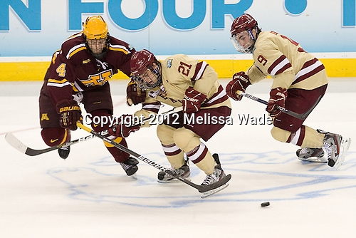 Seth Helgeson (Minnesota - 4), Steven Whitney (BC - 21), Barry Almeida (BC - 9) - The Boston College Eagles defeated the University of Minnesota Golden Gophers 6-1 in their 2012 Frozen Four semi-final on Thursday, April 5, 2012, at the Tampa Bay Times Forum in Tampa, Florida.