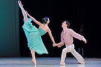 Julia Galambos and Gyorgy Baliko both ninth year students of the Hungarian Dance Academy perform Waltz choreographed by Vaszilij Vajnonen, music by Moszkovszkij during a gala performance held at the National Dance Theatre in Budapest, Hungary on February 27, 2013. ATTILA VOLGYI