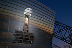 A detailed view of a photo of the Vince Lombardi trophy outside Cowboys Stadium, the site of National Football League's Super Bowl XLV football game on February 5, 2011 in Arlington,Texas. (AP Photo/David Stluka)