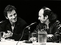 September 16, 1988 File Photo - Bruce Springsteen (L) and Michel Rivard (R) News conference for amnesty international concert in Montreal