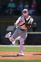 Winston-Salem Dash catcher Zack Collins (8) follows through on a throw during the game against the Carolina Mudcats at Five County Stadium on May 14, 2017 in Zebulon, North Carolina.  The Mudcats walked-off the Dash 11-10.  (Brian Westerholt/Four Seam Images)