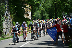 The peloton in action during Stage 8 of the 104th edition of the Tour de France 2017, running 187.5km from Dole to Station des Rousses, France. 8th July 2017.<br /> Picture: ASO/Pauline Ballet | Cyclefile<br /> <br /> <br /> All photos usage must carry mandatory copyright credit (&copy; Cyclefile | ASO/Pauline Ballet)