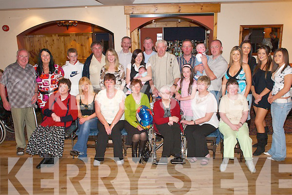 Noreen OLeary, Tureenamult, Gneeveguilla (seated fifth from left) celebrates her 60th birthday with her friends and family in Darby OGills, Killarney, last Friday night..